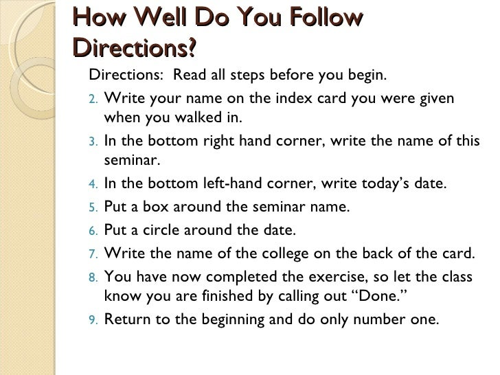can you follow the instructions read all