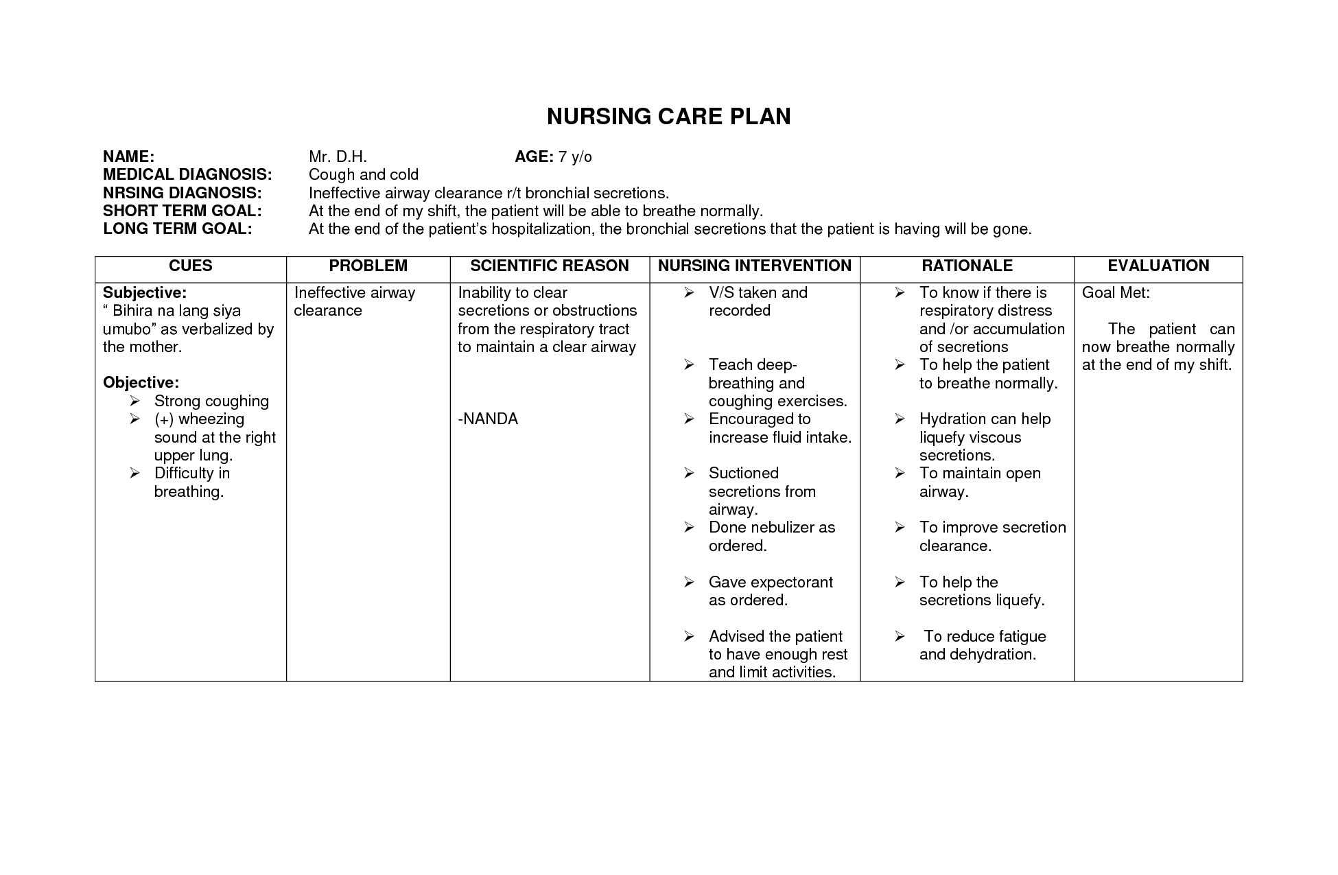 Risk for falls care plan example