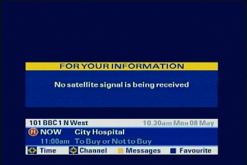 Bell satellite guide shows no info