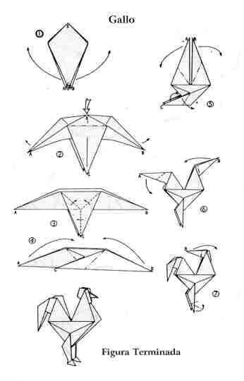 origami rooster instructions simple